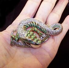 CORO CRAFT COROCRAFT Sterling 'Jewels of Fantasy' Enamel & Pave Lizard w/Egg Pin