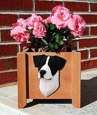 Jack Russell Terrier Planter Flower Pot Smooth Black White