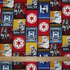 Cotton Fabric  Star Wars Blocks Darth Vader Storm Troopers Boba Felt  BTY