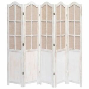 5 Panel Room Separator Vintage Style Wooden Partition Privacy Screen Divider