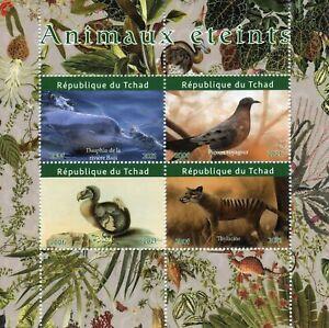 Chad Birds on Stamps 2021 MNH Extinct Animals Dodo Thylacine Pigeons 4v M/S