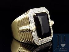 Men's 10K Yellow Gold Royal XL Onyx Gemstone Step shank Diamond Pinky Ring .60ct