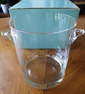 VintageTiffany Glass Wine / Champagne Scroll Handled Ice Bucket Cooler new boxed