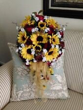 Silk Brides Bouquet Sunflowers & Wine Roses With Baby Breath Free Rush