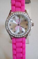 Geneva Pink Ribbon Breast Cancer Awareness Silicone Rhinestone Fashion Watch