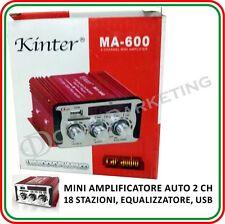 MINI AMPLIFICATORE AUTO STEREO 2CH USB SD MP3 TELECOMANDO PER ALFA giulietta