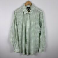 Blazer Mens Button Up Shirt Size 2XL White Green Striped Long Sleeve Collared