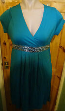 BHS PETITES JADE STRETCH DRESS+ BEJEWELLED WAIST SIZE 16 BNWT