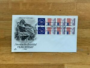 USA US 1981 FDC ART CRAFT BOOKLET PANE x 8 AMERICA THE BEAUTIFUL FLAG 6 18 CENT
