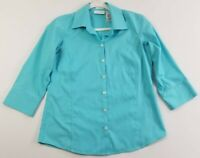 Liz Claiborne Women's 3/4 Sleeve Button Up Shirt Sz 4 Blue Non Iron Career Work