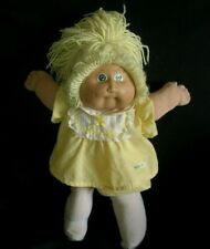 VINTAGE BLONDE CABBAGE PATCH KIDS BABY DOLL GIRL STUFFED ANIMAL PLUSH TOY GREEN