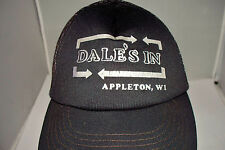 Vintage DALE'S IN Black Mesh Trucker Snapback Hat Appleton WI Size L Large