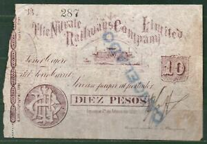 Chile ( North Railways Bank Co)10 Pesos 1891 VF Rare