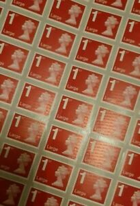 66 x 1ST CLASS LARGE LETTER STAMPS UNFRANKED OFF PAPER WITH GUM SELF ADHESIVE