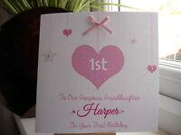 Handmade Personalised 1st Birthday Card First 2 3 4 Girl Daughter Granddaughter