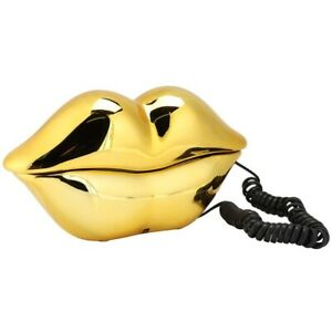 Mouth's Lips Shape Telephone Desktop Landline Colorful Electroplated Home Office