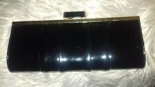 Primark Atmosphere Black Patent Clutch Bag With Gold Chain Shoulder Strap