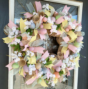 Hidden Easter Egg Spring Deco Mesh Front Door Wreath, Home Decor Decoration