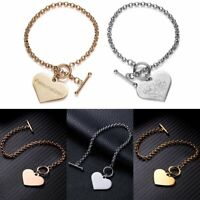 Personalized Engraved Stainless Steel Custom Bracelet Heart Charms Chain Bangle