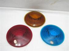 Set Kopp NOS Amber Red Blue Glass Railroad Lantern Signal Lens Flat Bulls Eye