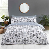 Duvet Cover Set - Single Size Cotton Bedding Set Reversible Safari Design Bedset