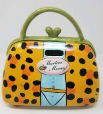 "Vintage Signed By Babs Ceramic Granny Handbag ""MARTINI MONEY"" Bank-Colorful"