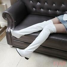 Women's  Shoes patent Leather Winter Flat Heel Lace Up Over the Knee Boots
