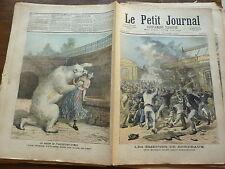 PETIT JOURNAL - 1891  N° 33 émeutes à BORDEAUX / suicide FRANCFORT ours dévorée