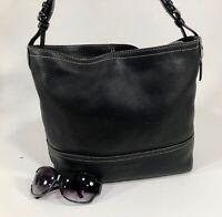 COACH Black Soft Pebbled Leather Larger Shoulder Hobo Tote Purse Bag 5715