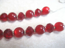 VINTAGE ESTATE RED LUCITE MOONGLOW  BEADS CRYSTAL GLASS FACETED NECKLACE CHAIN