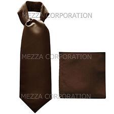 New Vesuvio Napoli Men's Polyester Ascot Cravat Necktie Hankie Solid Brown