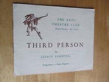 THE THEATRE ARTS CLUB THIRD PERSON DENHOLM ELLIOTT PROGRAMME
