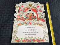 1960s American Greetings Card Fold Out Cut 3-D VTG Valentine's Day Love VTG MCM