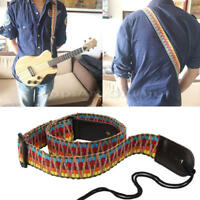 Adjustable Colorful Woven Acoustic Guitar Bass Hanging Strap PU Leather End Band