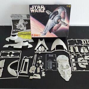 AMT ERTL Model Kit Star Wars Slave 1 Vintage Item Opened Unbuilt 100% Complete