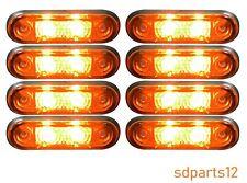 8 x 24v Flush Fit Rear Front Marker Lights Amber LED for Renault Iveco DAF