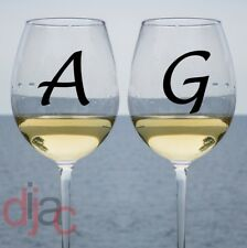 2 x INITIALS VINYL DECALS STICKERS for WINE GLASS