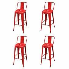 vidaXL 4x Bar Stools Red Steel Counter Kitchen Dining Restaurant Home Chairs
