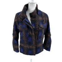 LINE & DOT Women's NWT Size M Blue Plaid Mock Neck Wool Blend Lined Coat Jacket