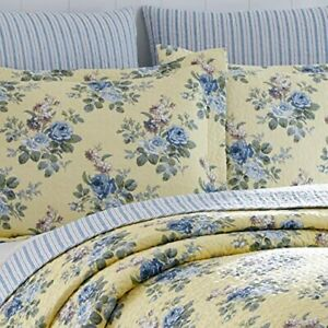 LAURA ASHLEY LINLEY FLORAL DELICATE YELLOW/BLUES 3 PC. FULL/QUEEN QUILT SET