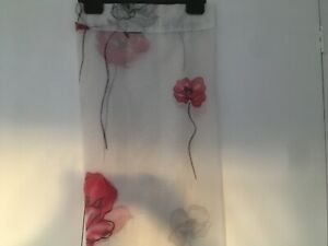 Pair of brand new voile panels, white with red  poppies