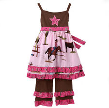 AnnLoren Big Girls 7/8 Cowgirl Horses Dress Pant Children's Clothing Set Outfit