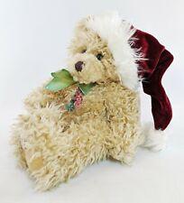 "Scraggles Christmas Teddy Bear Seated Plush Beige First & Main 11"" Santa Hat"