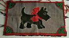 Antique Hand Hooked Rug Scotty Dog Early American Folk Art Primitive Pa. Estate