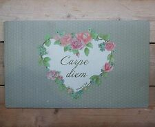 Shabby Chic French Vintage Grey/Green WELCOME Door Mat Carpe Diem Floral Heart