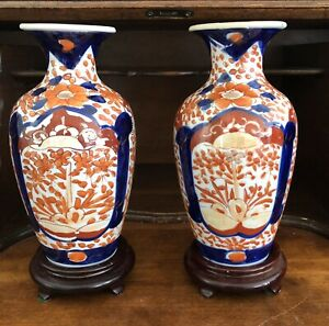 """Pair of 7 1/2"""" Antique Japanese Porcelain Imari Vases, Flower Motif, with Stands"""