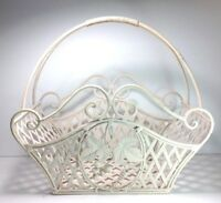 Vintage Magazine Rack Metal Wrought Iron Ivory Grapes Leaves Rustic Country