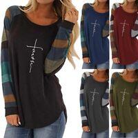 Women's Tunic Long Sleeve Faith T-shirt Lightweight Shirts Blouse Tops Plus Size