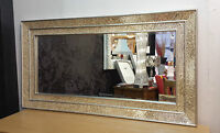 Large Crackle Champagne Glass Mosaic Wall Mirror Double Frame Handmade 128X68cm