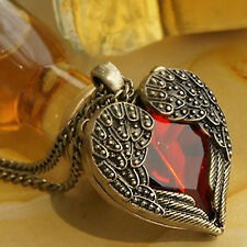 New Red Crystal Heart Angel Wing Necklace Gothic Bronze Vintage Valentines Gift